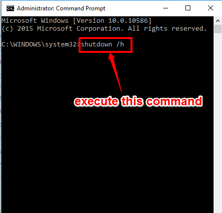 execute hibernate command