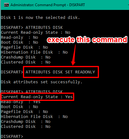 execute write protection command