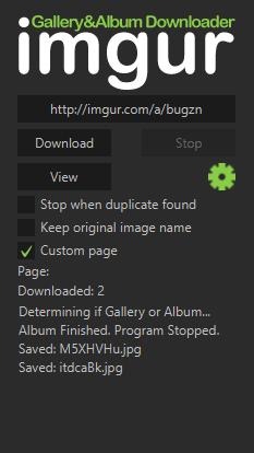 imgur Gallery&Album Downloader- interface