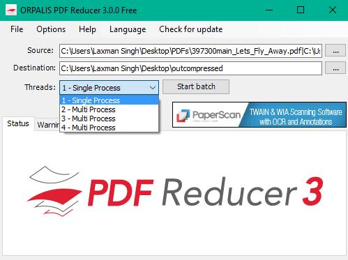 insert PDFs and bulk compress them