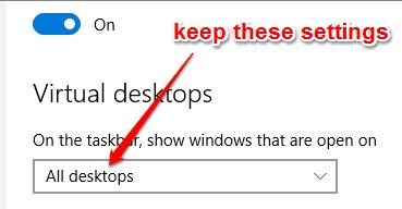keep All desktops setting