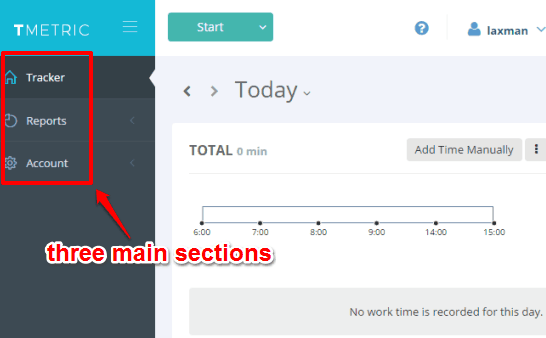 main sections in this work time tracking website