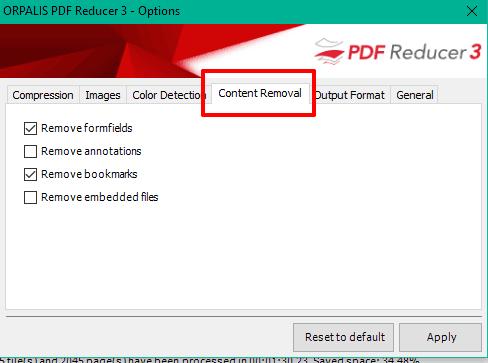 remove PDF content