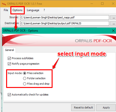 select an input mode to insert PDF files