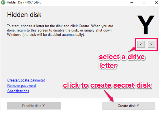 select drive letter to create hidden disk