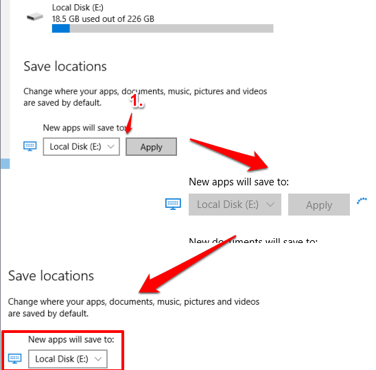 select new storage location for new apps