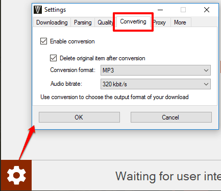 set converting options