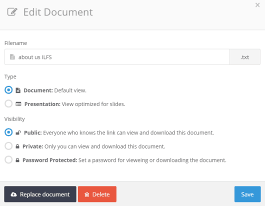 set document visibility and type