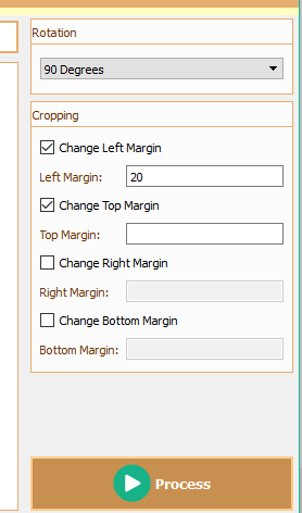set rotation angle and cropping margins