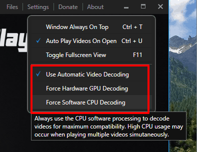 set video, GPU or CPU decoding