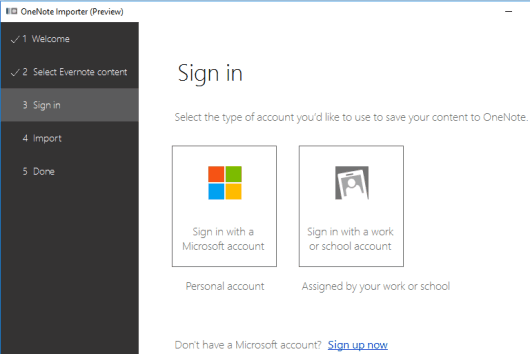 sign in to your OneNote account