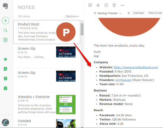 startup info saved to Evernote