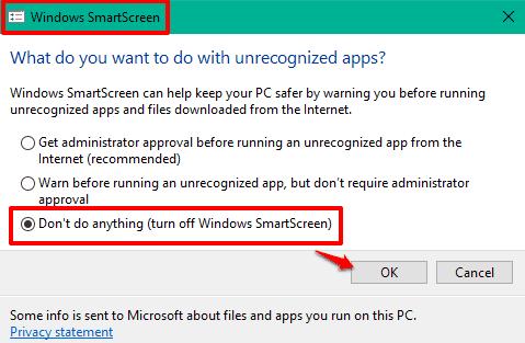 turn off Windows SmartScreen
