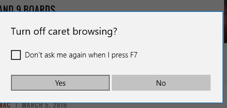 turn off caret browsing