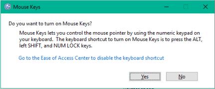 turn on Mouse Keys using hotkey