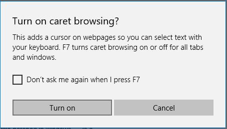 turn on caret browsing