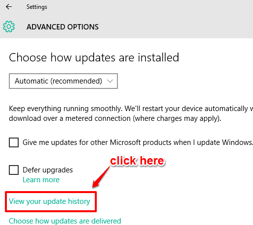 view your update history