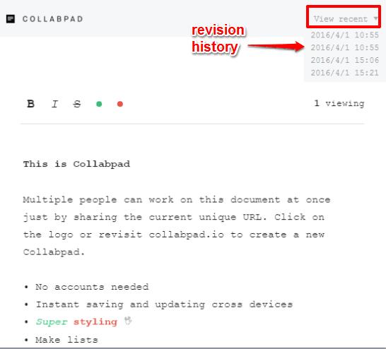 Collabpad- interface