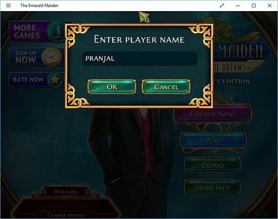 Emerald Maiden main screen