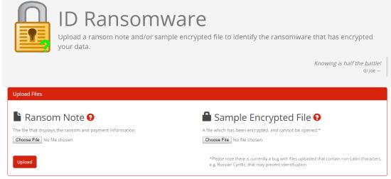 ID Ransomware interface