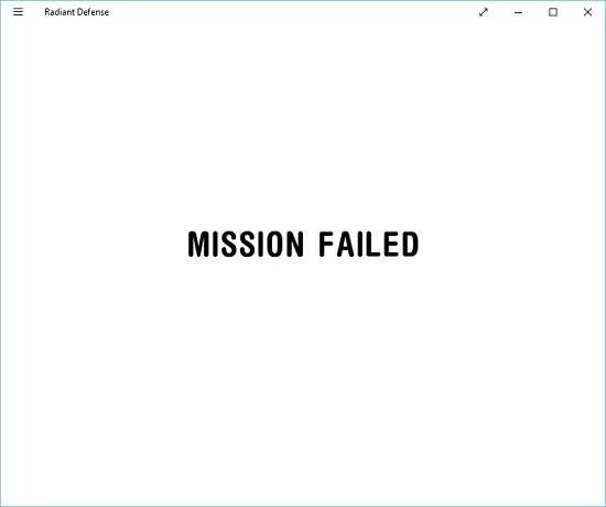 Radiant Defense mission failure