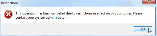 Restriction error