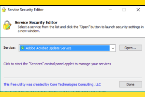 Service Security Editor software