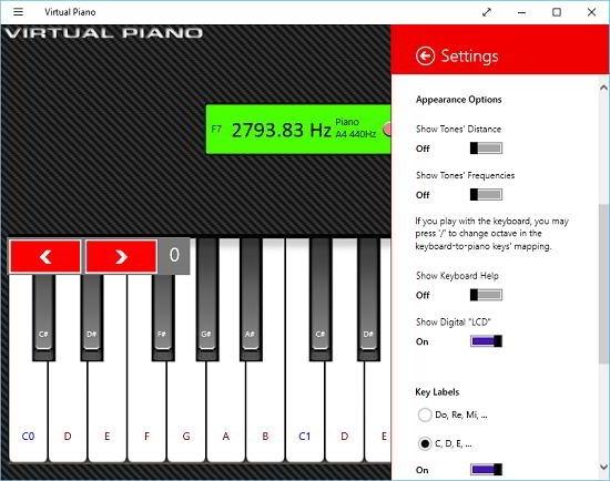 Virtual Piano settings
