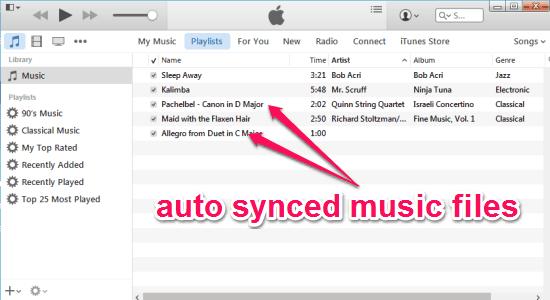 auto sync songs