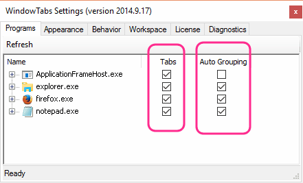 controlling grouping and tabs