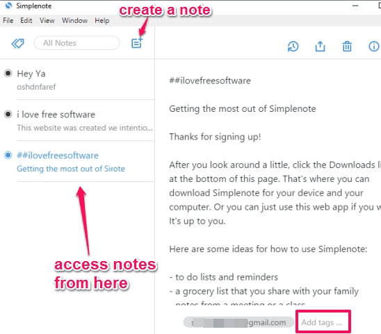 create notes, add tags