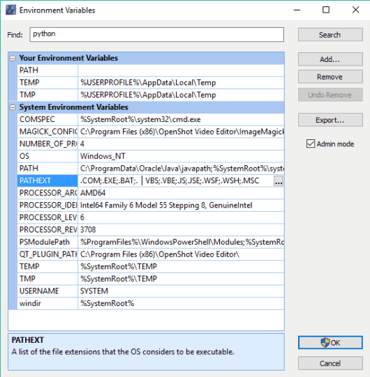 environment variable editor interface
