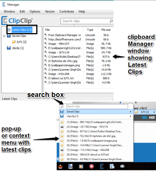 free clipboard manager with context menu and manager window
