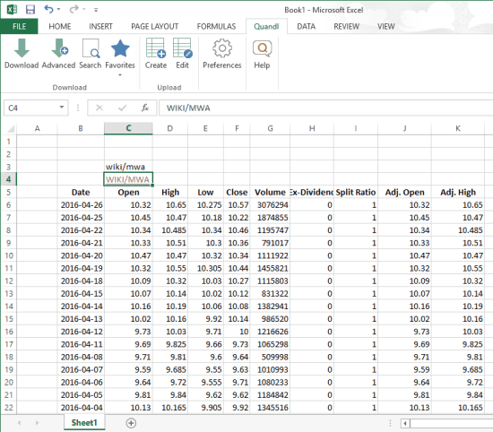 get free financial and economic data using Quandl Excel add-in