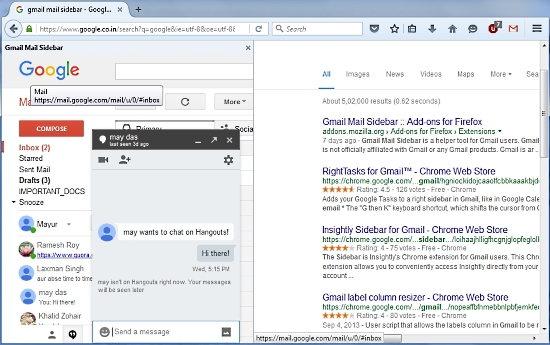 gmail mail sidebar hangouts