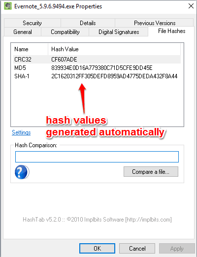 hash values generated automatically