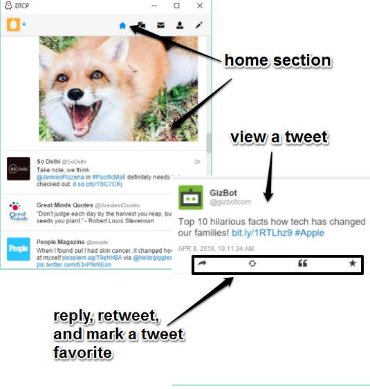 home section and view a tweet separately