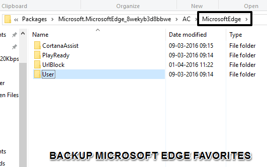 how to backup Microsoft Edge favorites