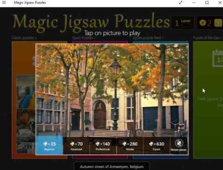 magic jigsaw puzzle level selection