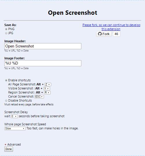 open screenshot settings