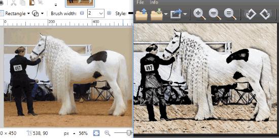 original photo and output sketch comparison