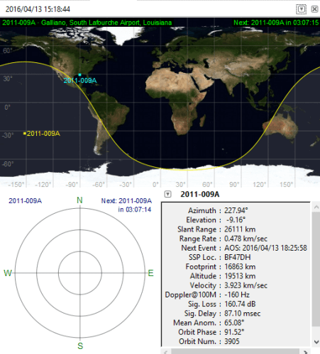real time information and visible time for a satellite