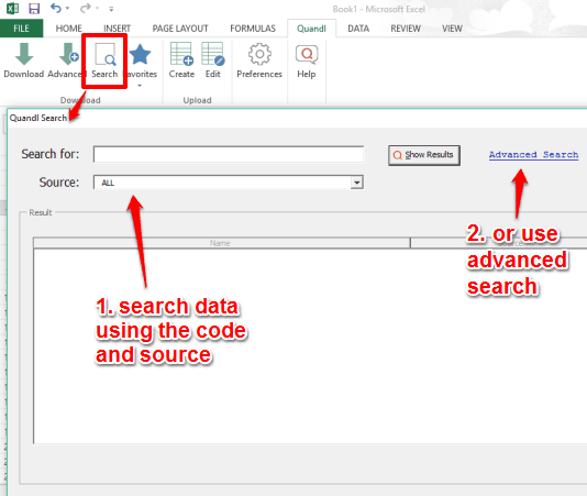 search for the data