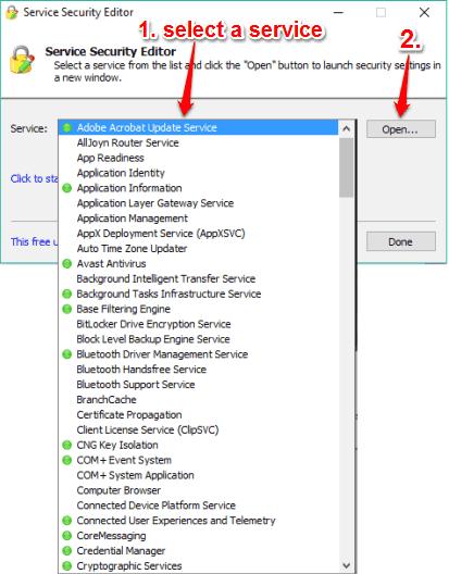 select a Windows service