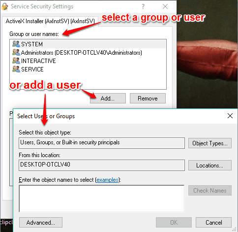 select a group or user