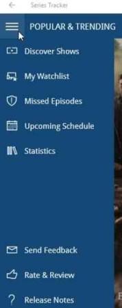 series tracker menu