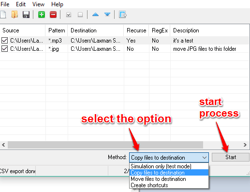 start copy or move process