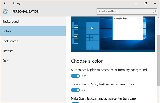taskbar auto color settings