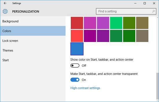 taskbar color settings