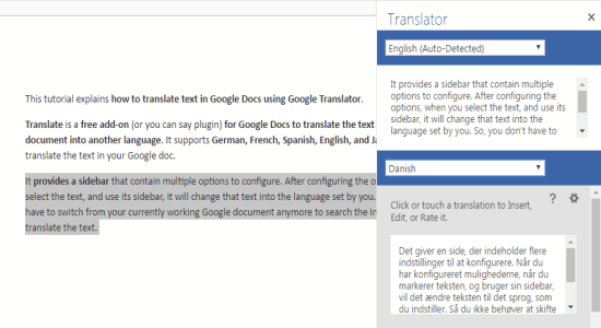 translate text directly
